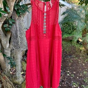 Cute Free People Cotton Embroidery Dress Lined